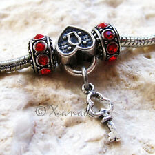 Key To My Heart European Bead And Birthstone Spacers For Charm Bracelet Chains