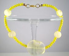 "Anklet Mother-of-Pearl/Glass Beads Yellow Gold Plated 10"" GB Handmade USA New"