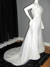 EMME WEDDING GOWN  SIZE 2 4 6 WHITE STRAPLESS SEWN PEARLS EMBROIDERY NEW