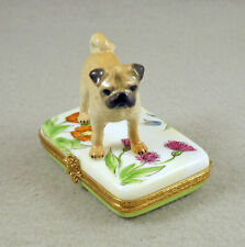 New ListingNew French Limoges Trinket Box Cute Pug Dog Puppy in Colorful Garden