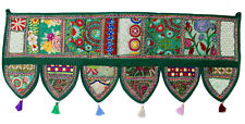 Handmade Ethnic Toran Diwali Decoration Embroidered Garland Door Hanging Green