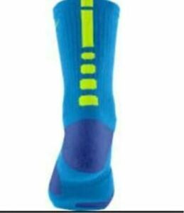 Nike Elite Lebron  Basketball Socks SX4696-477 LARGE (Men Size 8-12) Blue, Volt