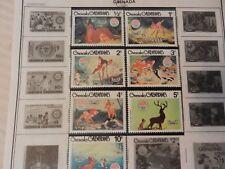Set of 7 Disney Stamps 1980 Christmas Bambi from Grenada, MNH