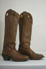 extra tall VINTAGE NOCONA WOMENS 6.5 B BROWN LEATHER ROUND TOE COWBOY BOOTS