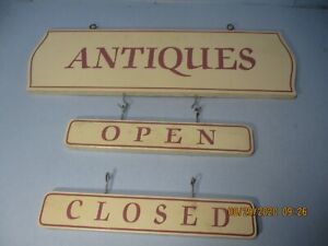 Vintage 2 SIDED usable/Collectible ceiling Hanging Sign With The Word Antiques