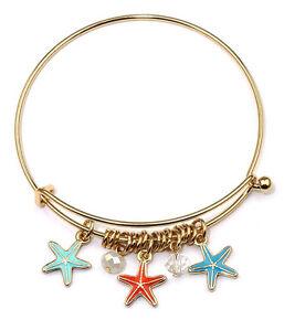 A & A Designer Style Star Fish Aqua Blue Red Charms Wire Bangle Bracelet
