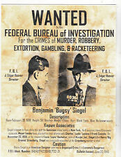 "+PC-Postcard-""Wanted...Benjamin ""Bugsy"" Siegel"" *Info on Postcard (C1)"