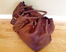 Auth Prada Cervo Antik Gradient Brown Deerskin Jumbo Shopping Tote Shoulder Bag