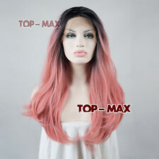 Straight Pink  Mix Black Lace Front 24 Inches Women Long Heat Resistant Wig