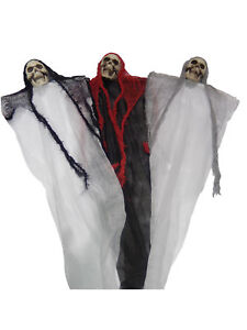 HALLOWEEN HANGING GHOSTS DECORATIONS CREEPY PARTY HORROR SKULL GHOST 80 CM