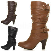 Womens ladies mid high heel buckle zip ruched slouch western calf boots size