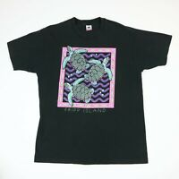 Vtg 90s Fripp Island Sea Turtles T-Shirt LARGE Faded Black Single Stitch USA Mde