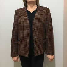True Vintage 80s Brown Navy Dogstooth Check Wool Winter Jacket Coat Size 14/16 L