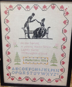 Antique Sampler 1928 M Collins Spring Engagement Valentines Love Cross Stitch