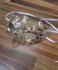 Venetian Masquerade Mask Metal Silver Filigree Diamante Ball Disco Prom Party