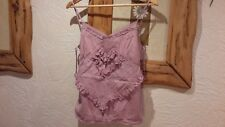 River Island Dusky Pink Lilac Summer Cotton Lace Strappy Vest Top Size 10
