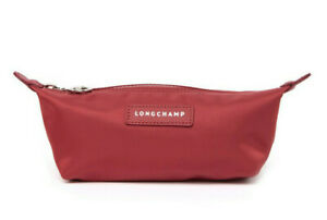 Longchamp Le Pliage Neo Leather Trimmed Cosmetic Case bag Nylon pouch ~NIP~ Red