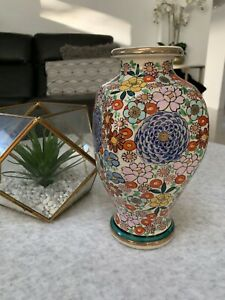 Vintage Japanese blue & white hand made pottery vase 26cm High