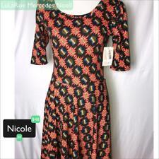 LuLaRoe Nicole Dress M - NWT Peachy Orange with Black and Blue print