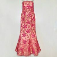 Cache Beaded Gown Floral Prom Dress Formal Strapless Mermaid Pink Holiday Size 4