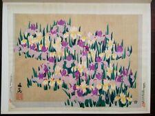 """Buncho Tani woodblock print """"Irises"""" (Showa)"""