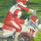 Acrylic Painting Motorcycle Unframed 8.75 x 11.75 Inch Canvas Board Motocross