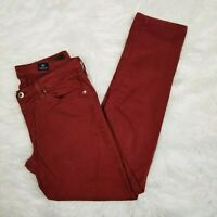 AG Adriano Goldschmied Size 29 Red The Stilt Cigarette Leg Skinny Ankle Jeans