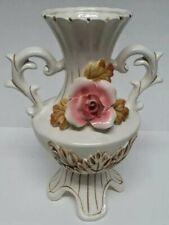 Vintage Flambro 3D Flower Garniture Porcelain Amphora Vase