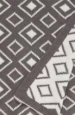 Levtex Double Diamond Throw Nordstrom 50 x 60 Grey and White REVERSIBLE Blanket