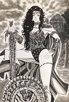 "Wonder Woman (12""x17"") Original Art Comic By Aldio Ferreira - Ed Benes Studios"