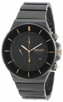 Seiko SNDD57 Men's Black Dial Chronograph All Black Stainless Steel Dress Watch