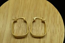 10K YELLOW GOLD HOLLOW THREE SQUARE FRAME DESIGN HOOP EARRINGS