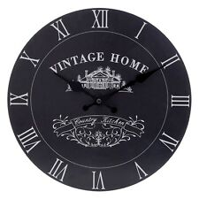 BLACK VINTAGE HOME RETRO OFFICE BEDROOM KITCHEN WALL MOUNTABLE CLOCK TIME NEW