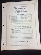 1950'S Sears Allstate Air Compressor 102.89550 + Other Models Owner'S Manual