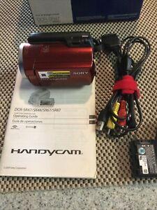 SONY DCR-SR47 Red Handycam 60GB Hard Drive digital camcorder Bundle Tested