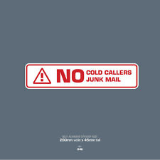 SKU046 No Junk Mail - No Cold Caller - Front Door Letter Box Sign / Sticker