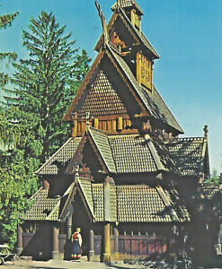 Norway Oslo Norsk Folkemuseum Church Postcard Used 100 Norge Stamp 1973 to Ohio