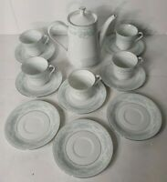 Vintage Rare 14 Piece Fairfield Fine China Tea Pot Cups and Saucers, & 3 Plates