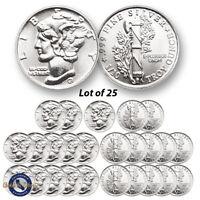 Lot of 25 -- New 1/10 oz Mercury Design .999 Fine Silver Rounds