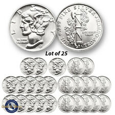 Lot of 25 - New 1/10 oz Mercury Design .999 Fine Silver Rounds