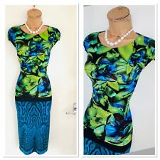 ROBERTO CAVALLI Colourful Floral Jersey Bodycon Dress Size 40/ Uk 10-12