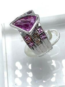 Pink Sapphire and Diamond by Carlo Viani 18KT Gold Ring Size 6.75 w COA in box