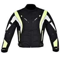 Men's Motorcycle Motorbike Jacket Waterproof Cordura CE Armoured Hiviz
