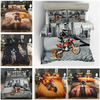 3D Racing Motorcycle Design Duvet Cover Set~Bed Linens~Twin/Full/Queen/King Size