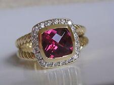 $2950 DAVID YURMAN ALBION 18K GOLD PINK TOURMALINE DIAMOND RING