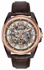 Bulova Men's Automatic Brown Skeleton Dial Brown Leather Strap Watch 98A165