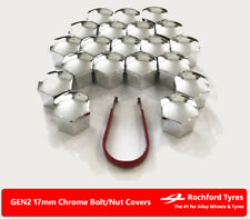 Chrome Wheel Bolt Nut Covers GEN2 17mm For Opel Corsa (4 Stud) [D] 06-14