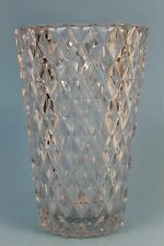 Signed VAL ST LAMBERT French Art Glass Quilted Diamond Pattern Crystal 9.25 Vase