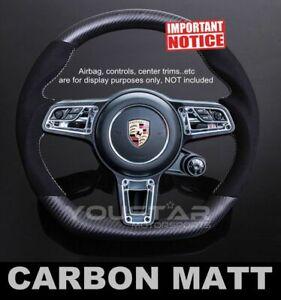 MATTE Carbon Alcantara Steering Wheel for Porsche 991 911 Boxster Cayman Macan