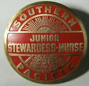 """RARE"" NICE SOUTHERN PACIFIC JUNIOR STEWARDESS NURSE RAILROAD ENAMEL ""1 GOLD PIN"